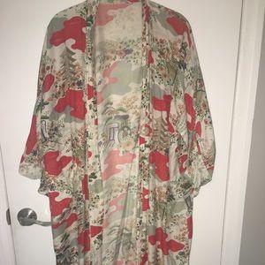 Vintage made in Japan 1940s kimono robe blossom